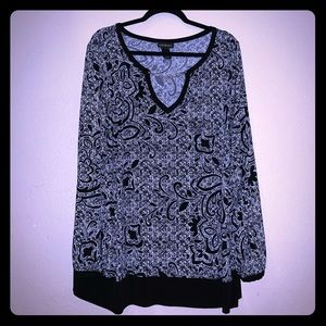 Lane Bryant B&W Patterned Top - Size 22/24